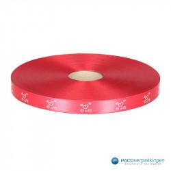 Satijn lint - HARTJES - Rood opdruk wit - Vooraanzicht