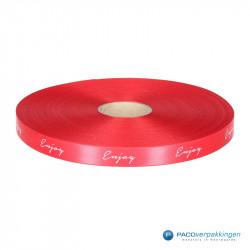 Satijn lint - ENJOY - Rood / Wit - Vooraanzicht