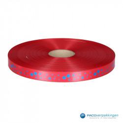 Satijn lint - STIPPEN - Rood opdruk blauw - Vooraanzicht