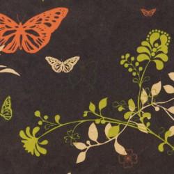 Inpakpapier - Bloemen en vlinders - Multikleur op zwart (Nr. 105) - Close-up