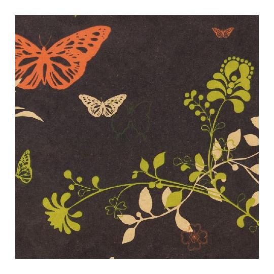 Inpakpapier - Bloemen en vlinders - Multikleur op zwart (Nr. 105)