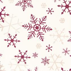 Zijdepapier - Sneeuwvlokken - Paars en zilver op wit - Close-up