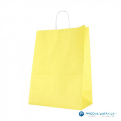 Papieren draagtassen - Geel - Gedraaide handgreep - Vooraanzicht zijkant