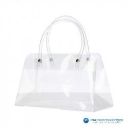Plastic draagtassen - Transparant - Luxe - Plastic tubehengsels - Zijaanzicht voor