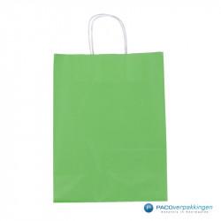 Papieren draagtassen - Groen - Gedraaide handgreep - Vooraanzicht