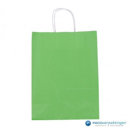 Papieren draagtassen - Groen - Gedraaide handgreep