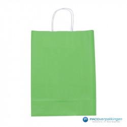 Papieren draagtassen - Groen - Gedraaide handgreep - Achteraanzicht