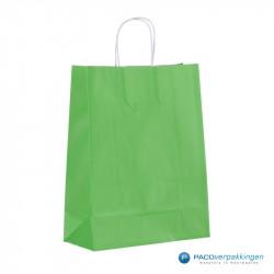 Papieren draagtassen - Groen - Gedraaide handgreep - Zijaanzicht achter