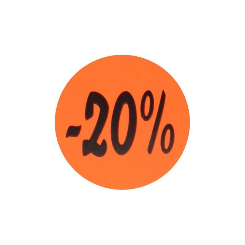 Kortingsstickers - 20% - Zwart op fluor rood - Vooraanzicht