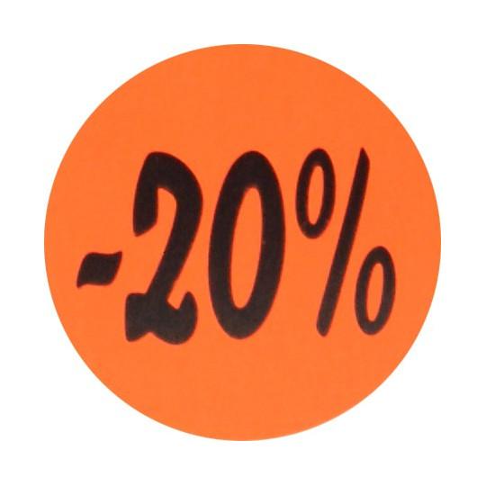 Kortingsstickers - 20% - Zwart op fluor rood Glans