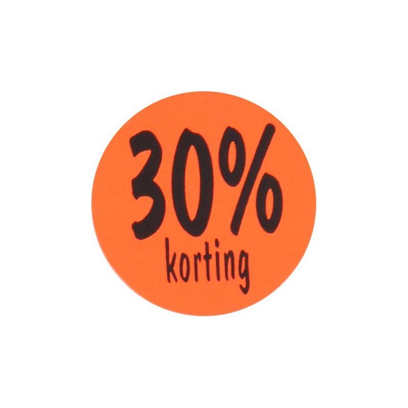 Kortingsstickers - 30% korting - Zwart op fluor rood - Vooraanzicht