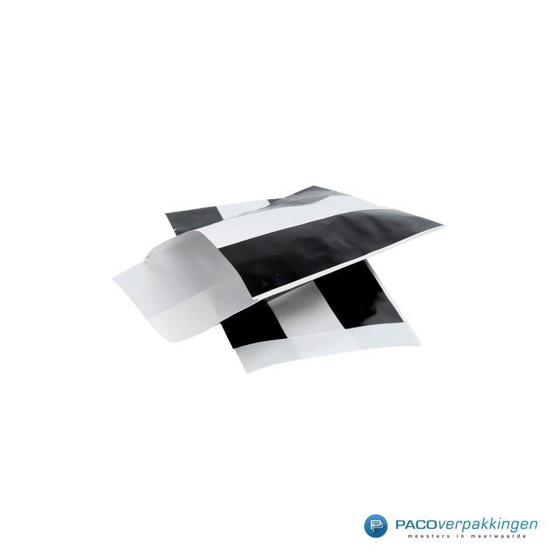 Papieren zakjes -  Zwart / Wit streep - Nr. 3226 - Zijaanzicht