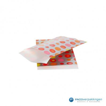 Papieren zakjes - Gekleurde bolletjes op zilver (Nr. 1213)