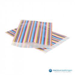 Papieren zakjes - Strepen gekleurd - Nr.3018 - Vooraanzicht