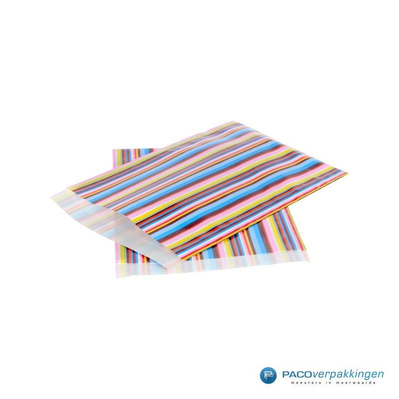 Papieren zakjes - Strepen gekleurd - Nr.3018 - Zijaanzicht