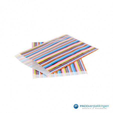 Papieren zakjes - Strepen gekleurd (Nr. 3018)