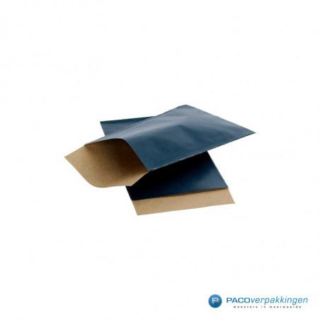 Papieren zakjes - Donkerblauw met bruin kraft (Nr. 100)