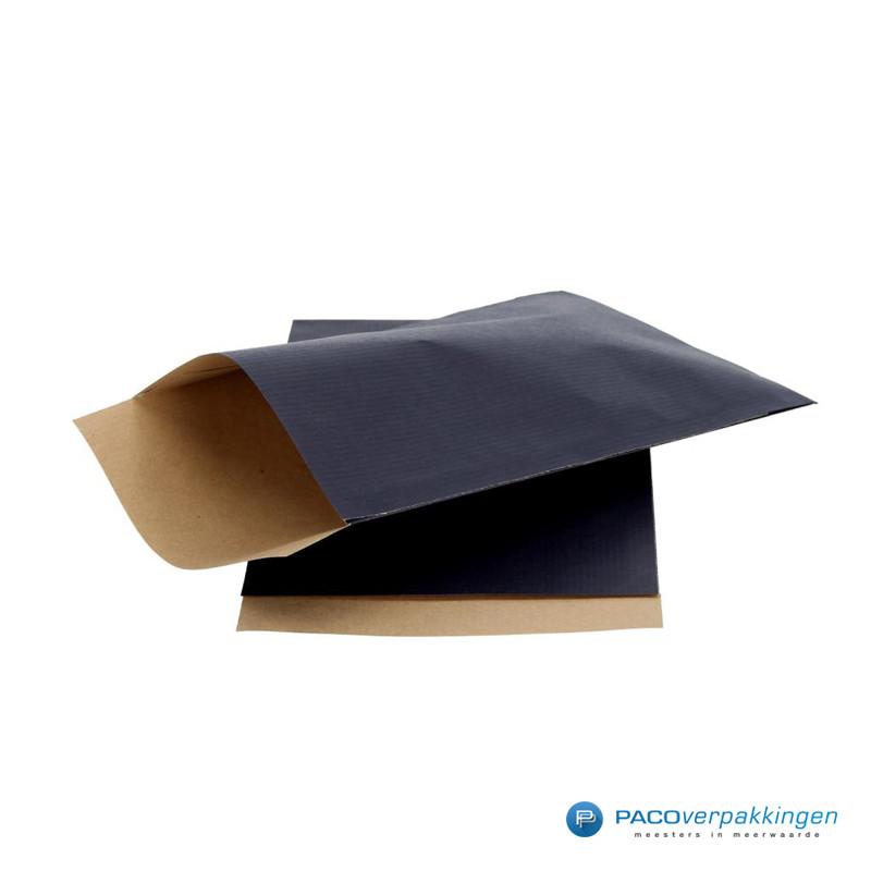 Papieren zakjes - Blauw Kraft - Zijaanzicht