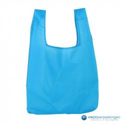 Boodschappentassen - Blauw - Opvouwbaar - Vooraanzicht
