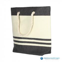Boodschappentassen - Sailor bag - Wit / Zwart - Zijaanzicht voor