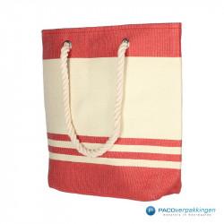 Boodschappentassen - Sailor bag - Wit / Rood - Zijaanzicht voor