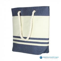 Boodschappentassen - Sailor bag - Wit / Blauw - Zijaanzicht voor