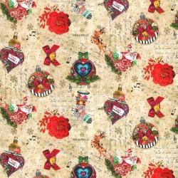 Inpakpapier Feestdagen - Melli Mello - Kerstballen - Rood op Beige (Nr. 90135) - Close-up