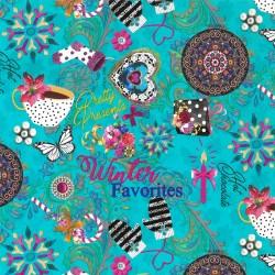 Inpakpapier Feestdagen - Melli Mello - Winter Favorieten - Multikleur op Blauw (Nr. 90136) - Close-up