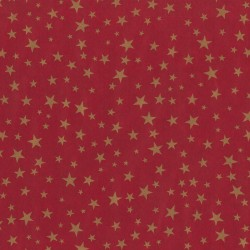 Inpakpapier Feestdagen - Sterren - Goud op rood (Nr. 074) - Close-up