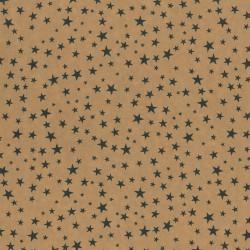 Inpakpapier Feestdagen - Sterren - Zwart op bruin (Nr. 073) - Close-up