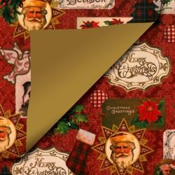 Inpakpapier Feestdagen - Kerstman - Groen op Rood (Nr. 90171) - Close-up