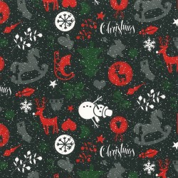 Inpakpapier Feestdagen - Dieren en kerstbomen - Mulitkleur op zwart (Nr. 90113) - Close-up