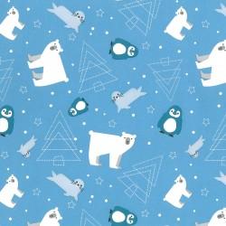 Inpakpapier Feestdagen - IJsberen en Pinguins - Wit op blauw (Nr. 90180) - Close-up