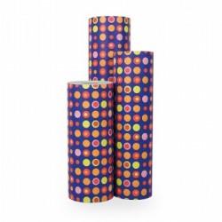 Inpakpapier - Stippen - Multikleur op blauw (Nr. 1005) - Rollen