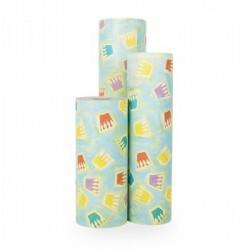 Inpakpapier - Kroontjes - Multikleur op blauw (Nr. 1012) - Rollen