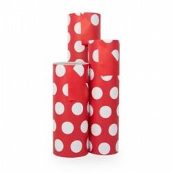 Inpakpapier - Stippen - Wit op rood (Nr. 1108) - Rollen