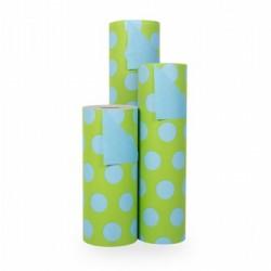 Inpakpapier - Stippen - Blauw op groen (Nr. 1110)  - Rollen