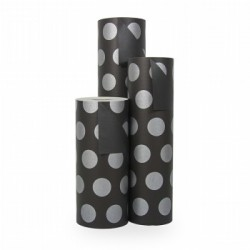 Inpakpapier - Stippen - Zilver op zwart (Nr. 1112) - Rollen
