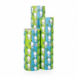 Inpakpapier - Schaapjes - Groen en blauw (Nr. 1204) - Rollen