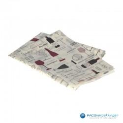 Zijdepapier - Wijnflessen - Bruin en rood op wit - Zijaanzicht voor