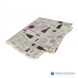 Zijdepapier - Wijnflessen - Bruin en rood op wit - Zijaanzicht achter