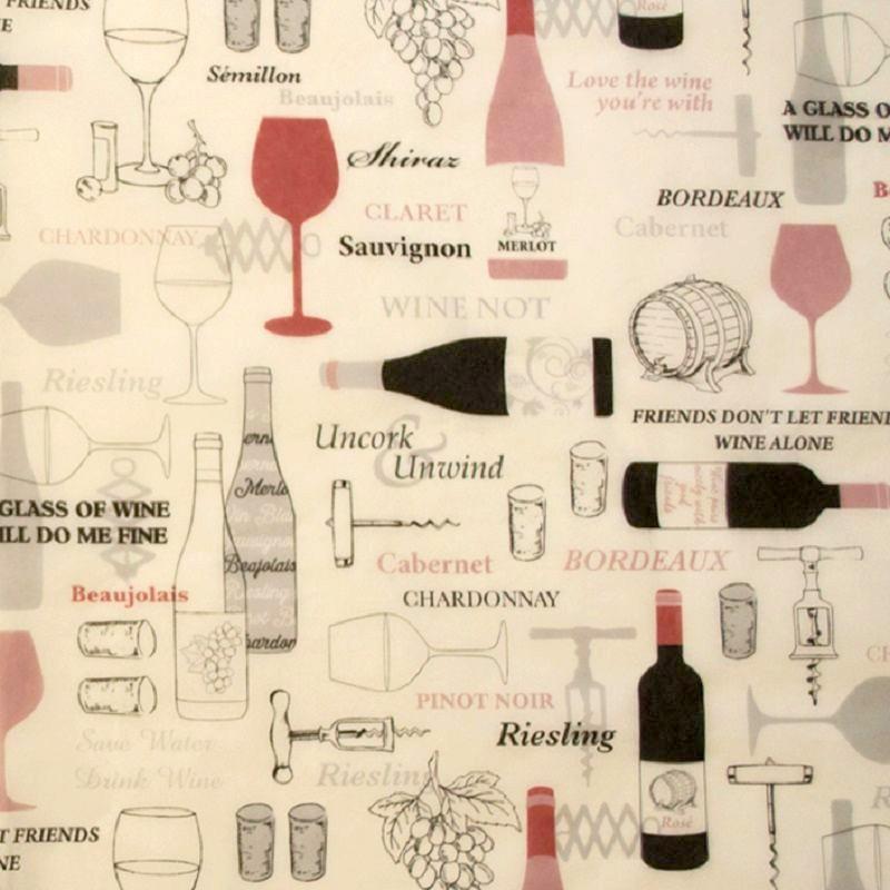 Zijdepapier - Wijnflessen - Bruin en rood op wit - Close-up