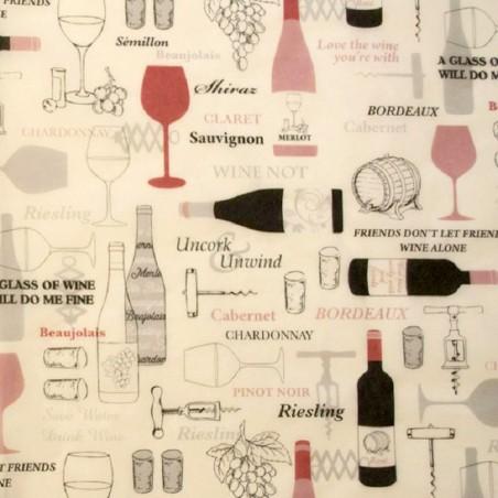 Zijdepapier - Wijnflessen - Bruin en rood op wit