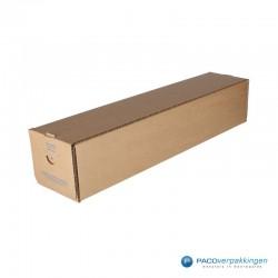 Vierkante verzendkoker - Bruin (Nr. 535176) - Zijaanzicht dicht