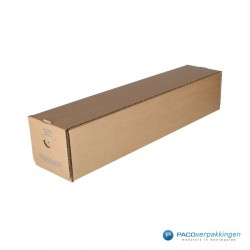 Vierkante verzendkoker - Bruin (Nr. 535175) - Zijaanzicht dicht