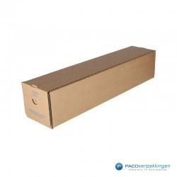 Vierkante verzendkoker - Bruin (Nr. 535174) - Zijaanzicht dicht