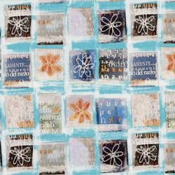 Inpakpapier - Bloemen en letters - Multikleur op blauw (Nr. 1014) - Close-up