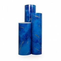 Inpakpapier - Krullen - Goud op blauw (Nr. 3007) - Rollen