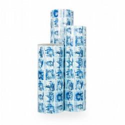 Inpakpapier - Hollands - Blauw op wit (Nr. 3032) - Rollen