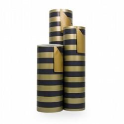 Inpakpapier - Strepen - Blauw op goud (Nr. 3102) - Rollen